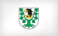 Herb Powiatu Oleckiego. Przedstawia głowę orła z dziobem i koroną na szyi pomiędzy 2 konarami lipy, z których każdy ma 4 liście.